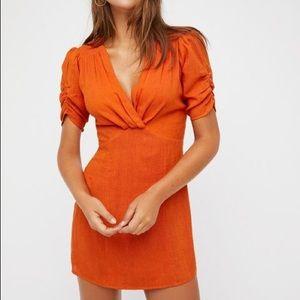 free people stars in your eyes orange dress